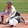 """Boulder High's Francis Ianzano, #2, tags Prairie View's  Caleb Dameron, #3, out at second base on April 7, 2012, Boulder.<br /> For more photos visit  <a href=""""http://www.dailycamera.com"""">http://www.dailycamera.com</a><br /> Photo by Derek Broussard"""