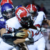 "Boulder High School's Amin Halimovic tackles Logan Bock during a game against Brighton High School on Thursday, Sept. 20, at Recht Field in Boulder. For more photos of the game go to  <a href=""http://www.dailycamera.comJeremy"">http://www.dailycamera.comJeremy</a> Papasso/ Camera"