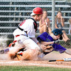 "Boulder's Austin Blessing slides into home plate under the tag of Brighton catcher Shane Goldermann on Monday, July 2, during a baseball game against Brighton at the Scott Carpenter Park baseball field in Boulder. Boulder won the game 10-9. For more photos of the game go to  <a href=""http://www.dailycamera.com"">http://www.dailycamera.com</a><br /> Jeremy Papasso/ Camera"