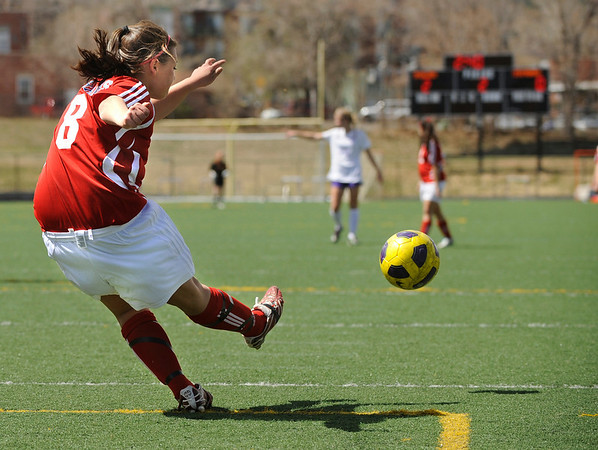"Centaurus High School senior Leilani Sniff passes the ball to a teammate during a soccer game against Boulder High School on Saturday, April 2, at Recht Field in Boulder. Boulder defeated Centaurus 2-0. For more photos go to  <a href=""http://www.dailycamera.com"">http://www.dailycamera.com</a><br /> Jeremy Papasso/ Camera"