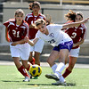 "Boulder High School's Kate Vann takes a shot on goal during a soccer game against Centaurus High School on Saturday, April 2, at Recht Field in Boulder. Boulder defeated Centaurus 2-0. For more photos go to  <a href=""http://www.dailycamera.com"">http://www.dailycamera.com</a><br /> Jeremy Papasso/ Camera"