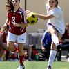 "Boulder High School's Abby Burridge passes the ball to a teammate during a soccer game against Centaurus High School on Saturday, April 2, at Recht Field in Boulder. Boulder defeated Centaurus 2-0. For more photos go to  <a href=""http://www.dailycamera.com"">http://www.dailycamera.com</a><br /> Jeremy Papasso/ Camera"