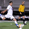 """Boulder High School's Luis Castruita takes a penalty kick during a playoff game against Chatfield High School on Monday, Oct. 29, at Recht Field in Boulder. Boulder won the game 3-2. For more photos of the game go to  <a href=""""http://www.dailycamera.com"""">http://www.dailycamera.com</a><br /> Jeremy Papasso/ Camera"""