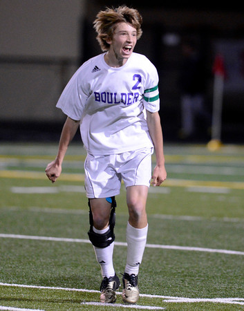 """Boulder High School's Kevin Van Lieshout celebrates after winning a playoff game against Chatfield High School on Monday, Oct. 29, at Recht Field in Boulder. Boulder won the game 3-2. For more photos of the game go to  <a href=""""http://www.dailycamera.com"""">http://www.dailycamera.com</a><br /> Jeremy Papasso/ Camera"""