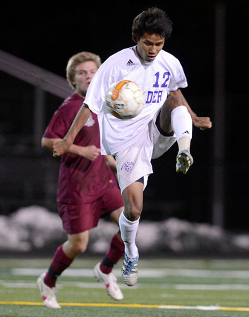 "Boulder High School's Sushant Gurung stops a pass during a playoff game against Chatfield High School on Monday, Oct. 29, at Recht Field in Boulder. Boulder won the game 3-2. For more photos of the game go to  <a href=""http://www.dailycamera.com"">http://www.dailycamera.com</a><br /> Jeremy Papasso/ Camera"