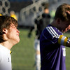 """Boulder High School senior Paco Resendiz, left, and a teammate show their emotion after losing to Cherry Creek 2-1 in the Class 5A State soccer semifinals against Cherry Creek on Saturday, Nov. 6, at Englewood High School.<br /> For more photos go to  <a href=""""http://www.dailycamera.com"""">http://www.dailycamera.com</a><br /> Photo by Daniel Clements"""