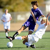 "Boulder High School senior Beau Salgado and Cherry Creek senior Tom Jaeger fight for the ball during the Class 5A State soccer semifinals against Cherry Creek on Saturday, Nov. 6, at Englewood High School. Cherry Creek defeated Boulder 2-1.<br /> For more photos go to  <a href=""http://www.dailycamera.com"">http://www.dailycamera.com</a><br /> Photo by JEREMY PAPASSO"