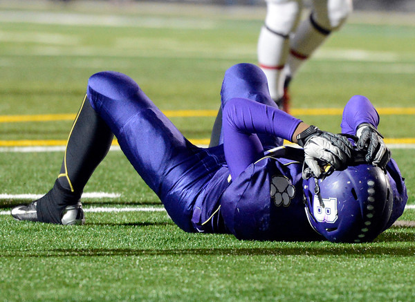 """Boulder High School's River Addison shows his disappointment after dropping a pass in the endzone during a game against Fairview High School on Friday, Oct. 26, at Recht Field in Boulder. Fairview won the game. For more photos of the game go to  <a href=""""http://www.dailycamera.com"""">http://www.dailycamera.com</a><br /> Jeremy Papasso/ Camera"""