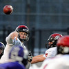 "Fairview High School quarterback Anders Hill completes a pass during a game against Boulder High School on Friday, Oct. 26, at Recht Field in Boulder. Fairview won the game. For more photos of the game go to  <a href=""http://www.dailycamera.com"">http://www.dailycamera.com</a><br /> Jeremy Papasso/ Camera"