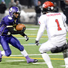 "Boulder High School's Luis Escobar tries to juke Cole Scheifele while rushing the ball during a game against Fairview High School on Friday, Oct. 26, at Recht Field in Boulder. Fairview won the game. For more photos of the game go to  <a href=""http://www.dailycamera.com"">http://www.dailycamera.com</a><br /> Jeremy Papasso/ Camera"