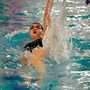 Fairview High School senior Caroline Patterson speeds towards the finish line in the girls 100 Yard Backstroke event on Thursday, Jan. 6, during a swim meet against Boulder High School at the North Boulder Recreation Center pool. Patterson took first place in the race.<br /> Jeremy Papasso/ Camera