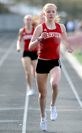 TRACK<br /> Fairview's Kristin Narum wins the 800.<br /> Photo by Marty Caivano/Camera/March 17, 2010