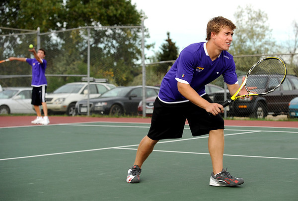 "Boulder High School's Dylan Platt, right, waits for the serve from teammate Bryce Waldman on Thursday, Sept. 22, during the #1 doubles tennis match against Fairview High School at Centennial Middle School in Boulder. For more photos of the matches go to  <a href=""http://www.dailycamera.com"">http://www.dailycamera.com</a><br /> Jeremy Papasso/ Camera"