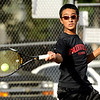 "Fairview High School's Ignatius Castellino returns the ball on Thursday, Sept. 22, during a tennis match against Boulder's Miguel Sanchez at Centennial Middle School in Boulder. For more photos of the matches go to  <a href=""http://www.dailycamera.com"">http://www.dailycamera.com</a><br /> Jeremy Papasso/ Camera"