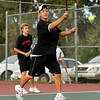 "Fairview High School's Kevin Chen returns the ball on Thursday, Sept. 22, during the #1 doubles tennis match against Boulder High School at Centennial Middle School in Boulder. For more photos of the matches go to  <a href=""http://www.dailycamera.com"">http://www.dailycamera.com</a><br /> Jeremy Papasso/ Camera"