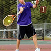 "Boulder High School's Bryce Waldman returns the ball on Thursday, Sept. 22, during the #1 doubles tennis match against Fairview at Centennial Middle School in Boulder. For more photos of the matches go to  <a href=""http://www.dailycamera.com"">http://www.dailycamera.com</a><br /> Jeremy Papasso/ Camera"