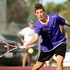 "Boulder High School's Julian Melcer returns the ball on Thursday, Sept. 22, during a tennis match at Centennial Middle School in Boulder. For more photos of the matches go to  <a href=""http://www.dailycamera.com"">http://www.dailycamera.com</a><br /> Jeremy Papasso/ Camera"
