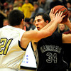 """Boulder High School senior Ethan Baker tries to steal the ball from Fossil Ridge's Alex Blum during a basketball game on Thursday, Jan. 27, at Boulder High School. Boulder defeated Fossil Ridge 54-51. Go to  <a href=""""http://www.dailycamera.com"""">http://www.dailycamera.com</a> for a photo gallery of the game.<br /> Jeremy Papasso/ Camera"""