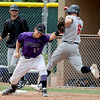 """The throw gets to Ray Feigal of Boulder in time  to get the out at first on  Casey Burns of gene Taylor's Baseball.<br /> For  more photos of the game, go to  <a href=""""http://www.dailycamera.com"""">http://www.dailycamera.com</a>.<br /> Cliff Grassmick  / August 2, 2012"""