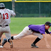 "Levi Chandler of Boulder gets to the ball and gets the out at second on  Cole Cummins of Gene Taylor's Baseball.<br /> For  more photos of the game, go to  <a href=""http://www.dailycamera.com"">http://www.dailycamera.com</a>.<br /> Cliff Grassmick  / August 2, 2012"
