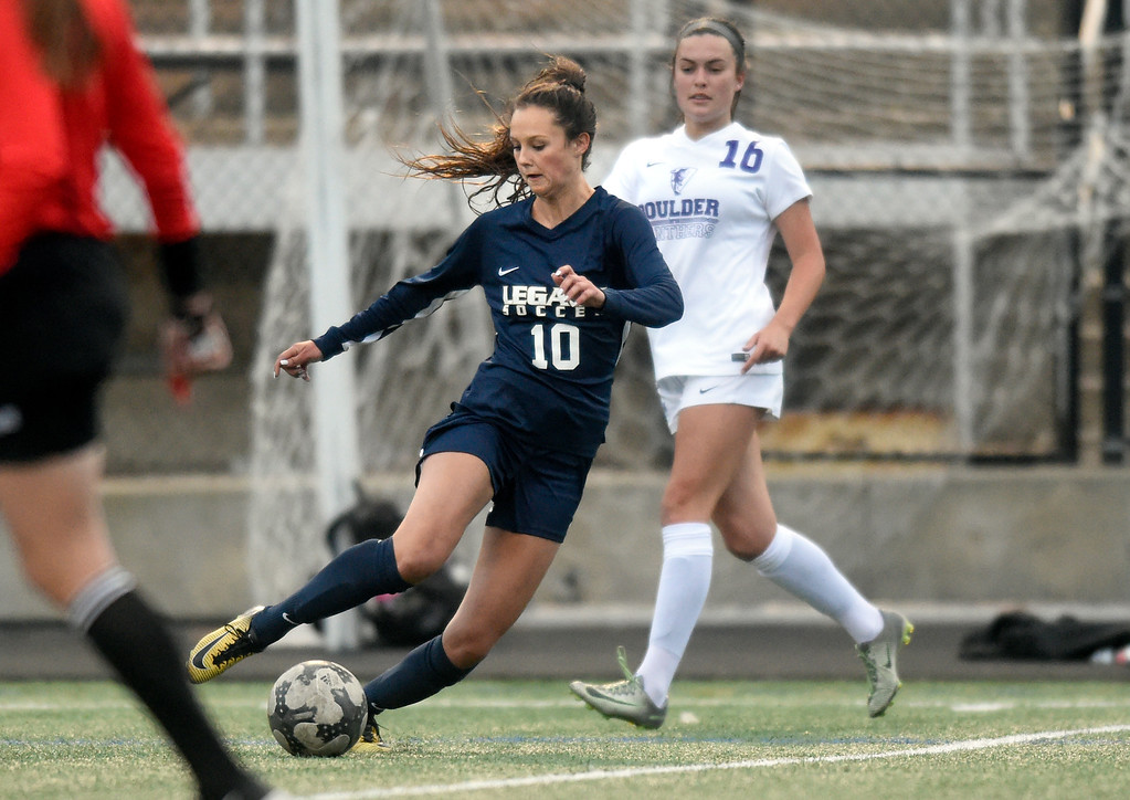 . Legacy High School\'s Gracie Armstrong moves the ball upfield during a game against Boulder on Thursday at Recht Field in Boulder. More photo: BoCoPreps.com Jeremy Papasso/ Staff Photographer 04/12/2018