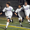 "Boulder High School's Kevin Van Lieshout, No. 2, celebrates after scoring a goal with Sushant Gurung, No. 12, and Lake Brant, No. 21, during a soccer game against Montbello on Wednesday, Oct. 24, at Recht Field in Boulder. For more photos of the game go to  <a href=""http://www.dailycamera.com"">http://www.dailycamera.com</a><br />  Jeremy Papasso/ Camera"