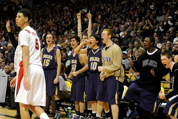 "Boulder High School basketball players show their excitement after scoring a few points late in the fourth period of the Colorado State High School Athletic Association boys class 5A Championship game against Regis Jesuit High School at the Coors Events Center on the University of Colorado campus in Boulder. Boulder lost to Regis 59-63. For more photos go to  <a href=""http://www.dailycamera.com"">http://www.dailycamera.com</a><br /> Jeremy Papasso/ Camera"