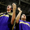 """Boulder High School senior Murray Smith, left, and senior Josh Wardell show their disgust with a close call by the referee during the Colorado State High School Athletic Association boys class 5A Championship game against Regis Jesuit High School at the Coors Events Center on the University of Colorado campus in Boulder. Boulder lost to Regis 59-63. For more photos go to  <a href=""""http://www.dailycamera.com"""">http://www.dailycamera.com</a><br /> Jeremy Papasso/ Camera"""