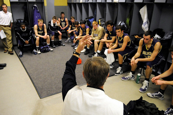 "Boulder High School Head Coach Alan Schulz talks with his team during half-time of the Colorado State High School Athletic Association boys class 5A Championship game against Regis Jesuit High School at the Coors Events Center on the University of Colorado campus in Boulder. Boulder lost to Regis 59-63. For more photos go to  <a href=""http://www.dailycamera.com"">http://www.dailycamera.com</a><br /> Jeremy Papasso/ Camera"
