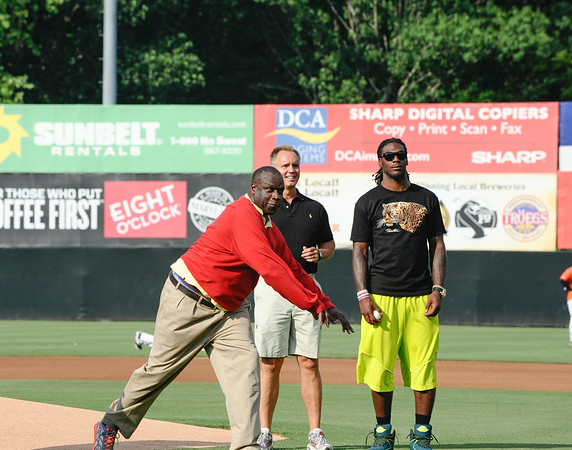 Former Redskin Dexter Manley throws the first pitch to kick off the Baysox game against the Richmond Flying Squirrels.