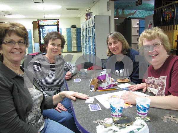 Pam Lentsch, Vickey Messerly, Pam Decker, and Nancy Leo were having great fun at league night.