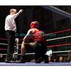 Samedi 7 avril 2012: traditionnel meeting de boxe organisé à Palézieux par le Boxing-Club de Châtel-St-Denis.<br /> Bojan Todosjevic, BC Châtel-Saint-Denis (rouge), compté par l'arbitre dans son match contre Robert Barbezat, BC Martigny (bleu).