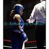 Samedi 7 avril 2012: traditionnel meeting de boxe organisé à Palézieux par le Boxing-Club de Châtel-St-Denis.<br /> Ici, Valérie Ntsama, BC Neuchâtel (bleu) avant son match contre Justine Erard, BC Châtel-St-Denis.
