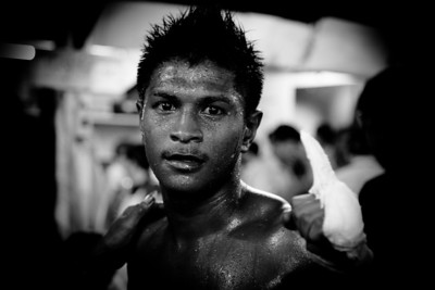Muay thai boxing -winner after the fight-Lumpini stadium, january 2012