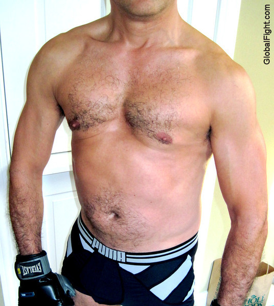 silvery hairychest boxer man