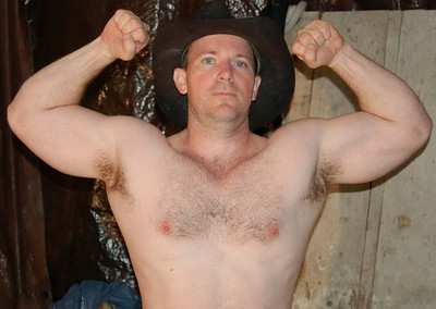 cowboy hay barn shed flexing hairy muscles