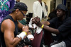 This has to be the busiest (and one of the coolest) cutman on the East Coast, wrapping Octavius Davis hands in prep for the kickoff fight of SHOBOX, in Salisbury, MD.