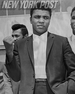 Boxer Cassius Clay means business as soon as he arrives in New York. 1963