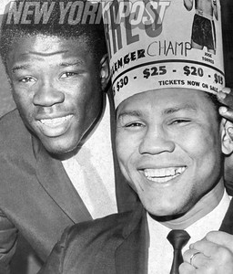 Jose Torres and Emile Griffith celebrate their wins at Madison Square Garden. 1966