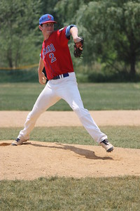 Jim Shomberg, a first baseman and outfielder by trade, pitching in the seventh inning Saturday.