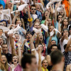 Record-Eagle/Jan-Michael Stump<br /> Traverse City St. Francis students cheer during Tuesday's state quarterfinal win over Negaunee in Petoskey.