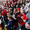 Record-Eagle/Keith King<br /> The Bellaire student section cheers their varsity boys basketball team on during the starting lineup announcements prior to their game against Boyne Falls Friday, March 9, 2012 at Boyne Falls Public School.