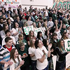 Record-Eagle/Keith King<br /> The Boyne Falls student section cheers their varsity boys basketball team on during the starting lineup announcements prior to their game against Bellaire Friday, March 9, 2012 at Boyne Falls Public School.