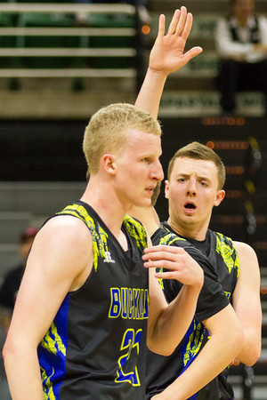 Record-Eagle/Brett A. Sommers Buckley's Austin Harris offers a high five to teammate Denver Cade during Thursday's Class D state semifinal at East Lansing's Breslin Center. Buckley won 68-61.