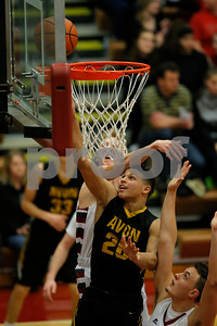 Avon High School senior Evan Lowden (20) with lay up for two during the game between Avon an Danville at Danville High School in Danville,IN. (Jeff Brown/Flyer Photo)