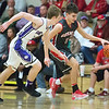 JAY YOUNG | THE GOSHEN NEWS<br /> Goshen High junior Will Line (11) takes off down the sidelines after stealing the ball away from Elkhart Christian Academy junior Gabe Arter during their game Tuesday night in Elkhart.