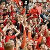 Westview Warriors student section reacts during the Friday night game at Westview High School in Topeka.