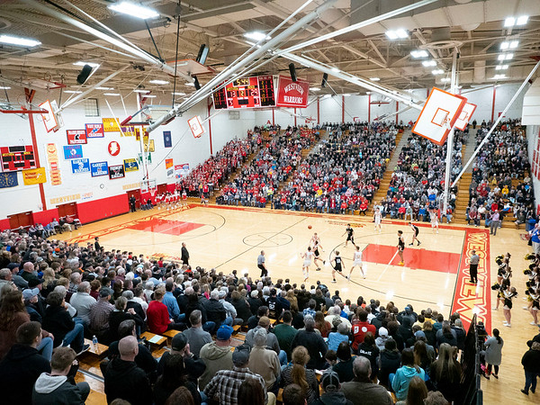 Hundreds of fans pack the house during the Friday night game between the Westview Warriors and the Churubusco Eagles at Westview High School in Topeka.