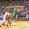 Northridge senior Alex Stauffer (50) snags a pass before it goes out of<br /> bounds Friday night in the Elkhart 4A sectional championship.