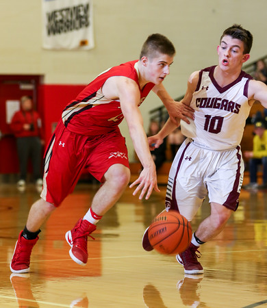 CHAD WEAVER | THE GOSHEN NEWS<br /> Elijah Gum-Hales of Westview tries to drive past Central Noble's Zach Brazel during the first half of Friday night's 2A basketball sectional at Westview.